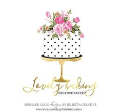 Watercolor cake logo design, Pre-made logo design Bakery Business Cards, Cake Business, Business Logo, Bakery Branding, Bakery Logo, Cake Sketch, Cake Background, Cake Logo Design, Patterned Cake