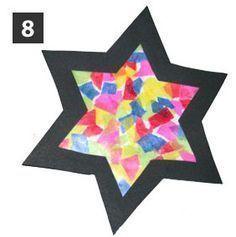 Aus bunten Papierschnipseln wird mit Mamas Hilfe schnell ein leuchtender Stern.