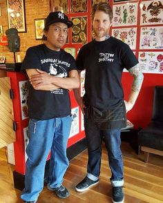 Instagram #skateboarding photo by @benwight_tattooer - Hanging with @lewarthur @pyramidartstattoo ! This guy is responsible for skateboarding in Rochester ny and for helping mold my view on life - #respect #skateboarding #skateanddestroy #samuraiskates #samuraiskateshop #lifelessons. Support your local skate shop: SkateboardCity.co