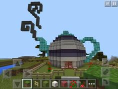 awesome Built a cute teapot house in minecraft...
