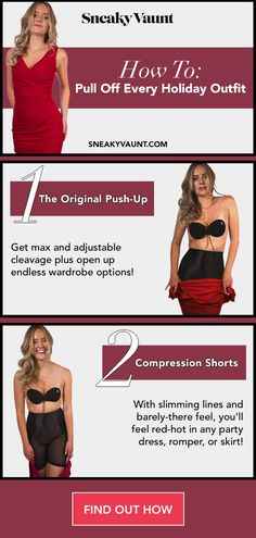 The only thing better than looking like a total feeling like a total 10 too! AND, we're here to help you unlock all your holiday wardrobe options, and have you feeling RED-HOT. SO… it's now, or now, girl! Holiday Wardrobe, New Wardrobe, Holiday Party Outfit, Holiday Outfits, Strapless Bras, Party Skirt, Pull Off, Compression Shorts