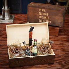 The Man, The Myth, The Legend Personalized Whiskey Gift Box - Custom Whiskey Glasses, Engraved Bourb Wooden Gift Boxes, Custom Gift Boxes, Wooden Gifts, Customized Gifts, Personalized Gifts, All You Need Is, Whiskey Gift Set, Wine Gift Baskets, Basket Gift