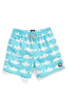Tom & Teddy 'Fish Pattern' Swim Trunks (Toddler Boys, Little Boys & Big Boys)