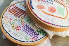 Drop Cloth Samplers from Rebecca Ringquist Embroidery Sampler, Embroidery Needles, Embroidery Hoop Art, Cross Stitch Embroidery, Embroidery Ideas, Spinning Yarn, School Art Projects, Yarn Ball, Quilt Blocks