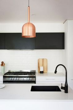 Black and copper and white - Ben Jemma Reno Rumble Scandi Kitchen Best Kitchen Sinks, Kitchen Sink Faucets, Kitchen Tiles, New Kitchen, Kitchen Worktops, Kitchen Cupboards, Kitchen Island, Bathroom Interior, Kitchen Interior