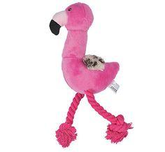 "PINK 13"" Flamingo Dog Toys ROPE Funky Squeak Toy PLUSH Soft Leopard Wings THROW #flamingo #dogtoy"