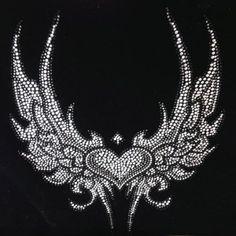 Angel wings rhinestone heat transfer - Shopionics