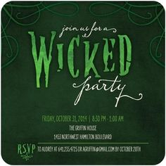 Your Halloween party guests will defy gravity when they receive this wicked green party invitation.