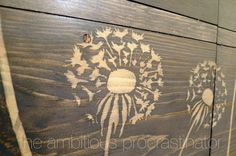"""Using wood glue to """"paint"""" in a stencil to resist wood stain.  Brilliant!"""