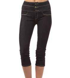 Pinup Clothing - High Waist Dark Stretch Denim Skinny Capri Pants with Button Front