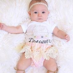 Dreamer - Baby bodysuit / onesie. The Pine Torch. Hipster baby, baby girl clothes, graphic baby onesie, boho baby outfit, lace baby bloomer, lace baby headband.
