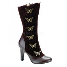Demonia Tesla 107 Steampunk Brown Matt and Microfibre Calf Boots with Zip and Skull Butterfly Buttons