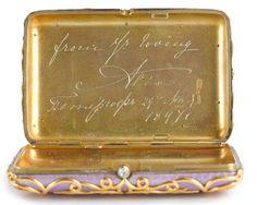 A Faberge cigarette case, a love token from Russian Empress Alexandra to Tsar Nicholas II, will auction at Bonhams' London on June 5.