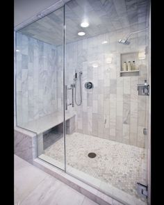 Bathroom decor for the master bathroom renovation. Learn master bathroom organization, master bathroom decor tips, bathroom tile ideas, bathroom paint colors, and more. Shower Tile Designs, Bathroom Designs, Walk In Shower Designs, Steam Showers Bathroom, Bathroom Shower Remodel, Glass Showers, Steam Room Shower, Tile Showers, Marble Showers