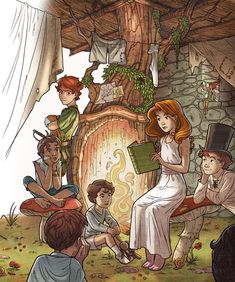 Peter Pan, Part 2, 2009 © Sebastian Giacobino (Artist, Argentina) via DeviantArt ... Wendy reads to the Lost Boys, her brothers & Peter Pan.