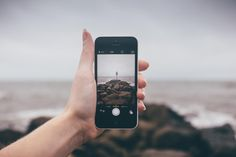 iphone, camera, picture, photography, smartphone, hand, rocks, beach, ocean