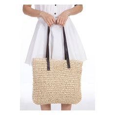 SheIn(sheinside) Beige Contrast Straps Weave Tote Bag ($19) ❤ liked on Polyvore
