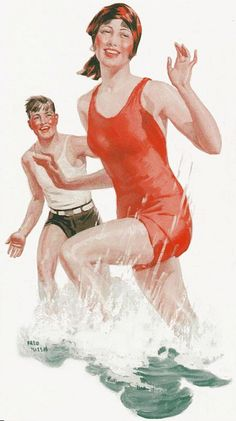 Splishing and a splashing at the beach 1930s style. #vintage #1930s #summer #beach #swimsuit