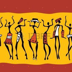 Figures of african dancers   Seamless Vector  Illustration