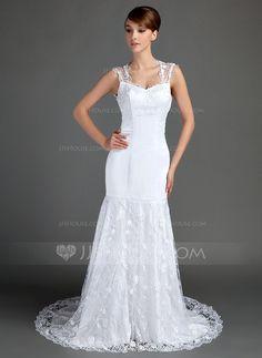 Wedding Dresses - $226.99 - Trumpet/Mermaid Sweetheart Chapel Train Satin Lace Wedding Dress (002015699) http://jjshouse.com/Trumpet-Mermaid-Sweetheart-Chapel-Train-Satin-Lace-Wedding-Dress-002015699-g15699?ver=n1ug2t&ves=k41wn
