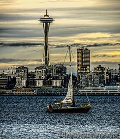 Sailing under the Needle, Seattle, Washington by reedmywords