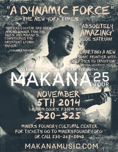 Makana at the Miners Foundry, Wednesday, November 5th, Nevada City