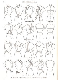 """Loads of options from the 4 basic dress designs: Practical Dress Design Mabel Erwin Sewing Inspiration""""Four Basic Dress Designs - Chemise, Princess and Long Torso, One-Piece with Waistline Seam, and Two-Piece Types - - from the book Practical Dress Desi Sewing Hacks, Sewing Tutorials, Sewing Crafts, Sewing Projects, Sewing Tips, Vintage Patterns, Vintage Sewing, Sewing Patterns, Shirt Patterns"""