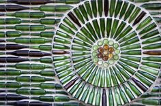 wall made of glass bottle Stock Photo