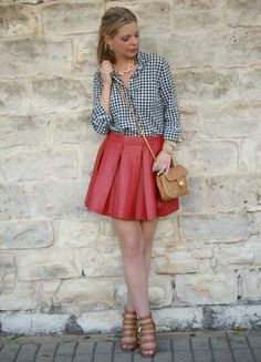 Gingham top + red leather pleated skirt + cognac booties. Spring outfit  idea.