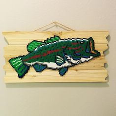 Bass fish perler beads by let.there.be.pixels                              …