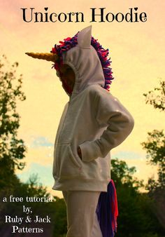 Unicorn Hoodie tutorial for Halloween costumes or the dress up bin. Can be made for adults, teens or kids