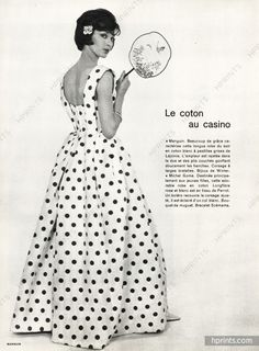Lucile Manguin 1960 White dress with black polka-dots, Corsage, Kathleen Kennedy, Fifties Fashion, 20th Century Fashion, Fashion History, Fashion Prints, Dressmaking, Vintage Dresses, Polka Dots