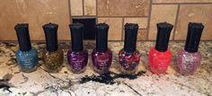 Kleancolor Nail Polish LOT - 7 Full Size Bottles Glitter Funky Colors Fun Bold #Kleancolor