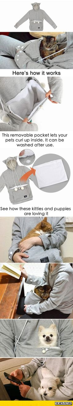 The Perfect Hoodie with a warm place for a cutie patootie to snuggle up - OH MY GOD I NEED THIS!
