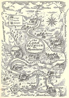 Mountain country is going to need an area like this to grow crops and livestock in The Land Between The Mountains, from Carol Kendall's The Gammage Cup, illustrated by Erik Blegvad. Fantasy Map Making, Fantasy World Map, Vintage Maps, Antique Maps, Art And Illustration, Map Illustrations, Imaginary Maps, Rpg Map, Treasure Maps