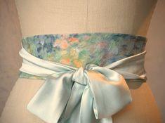 Monet inspired Obi sash belt wedding something blue engagement silk pale green on Etsy, $102.12 AUD