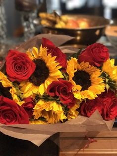 Brilliant 25 Amazing Sunflower And Rose Bouquet https://weddingtopia.co/2018/02/07/25-amazing-sunflower-rose-bouquet/ The sunflower is an easy and tasteful flower famous for its large head and bright yellow color