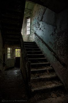 Stairwell in Abandoned Asylum Building 138 Fine Art Print, Old Building, Urban Exploration, Color, Texture, HDR Photograph Free Shipping on Etsy, $31.93 AUD