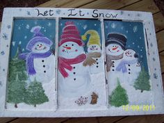 Snowmen In Winter  Hand Painted Wooden Window I did using @Plaid Craft Paints