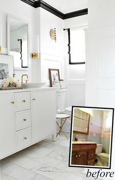 A Black and White Bathroom Makeover from Bliss At Home