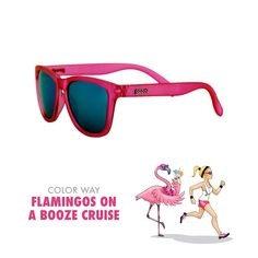 Cartoon - Flamingos on a Booze Cruise - Pink - goodr Running Sunglasses.004