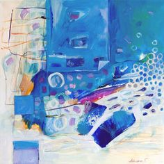 Abstract acrylic painting, Winter impressions, blue, white, turquoise, yellow accents, 40x40cm (app.15.7x15.7)