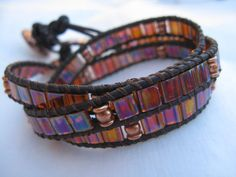 Rootbeer and Copper Tila Bead Chan Luu Inspired Leather Triple Wrap Bracelet
