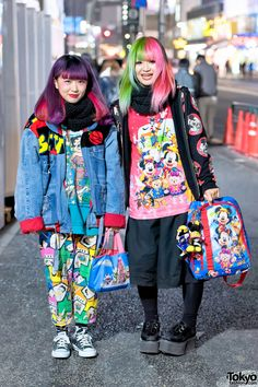 Harajuku Girls in Colorful Street Styles w/ Betty Boop & Mickey Mouse