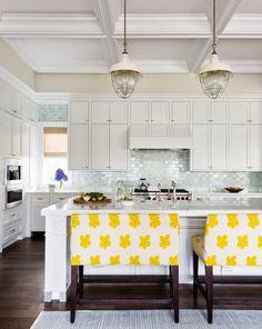 Andrew Howard Interior Design: pinned for ceiling, lights, bar stools, cabinets, back splash tiles & rug
