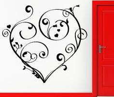 Wall Sticker Vinyl Decal Heart Flowers Romantic Lovely Decor For Girls (z1108)