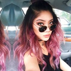 Pink hair is impertinently or tender? Pink hair has many shades! A girl with pink hair is bold and stylish! Purple Balayage, Pink Ombre Hair, Pastel Pink Hair, Hair Color Pink, Pink And Black Hair, Purple Ombre, Ombre Color, Black Hombre Hair, Pink Bayalage