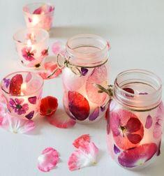 Easy DIY flower petal candle holder - spring homer decor // Gyönyörű lámpás befőttesüvegből virágszirmokkal - tavaszi dekoráció // Mindy - craft tutorial collection // #crafts #DIY #craftTutorial #tutorial