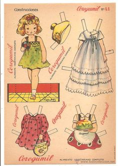 BRAND Ceregumil is a trademark of the Spanish company Fernandez and Canivell SA dedicated to food supplements based in Malaga,Spain ~ Vintage Paper Doll Trade Card/Advert Paper Toys, Paper Crafts, Diy Crafts, Paper People, Kawaii Doodles, Art Folder, All Paper, Paper Art, Vintage Paper Dolls