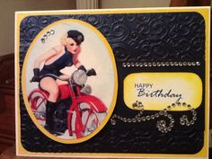 Hot babe vintage motorcycle rider birthday Blues & yello card.  I put a tatoo on the girls arm.